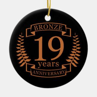 Bronze traditional wedding anniversary 19 years ceramic ornament