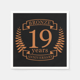 Bronze traditional wedding anniversary 19 years disposable napkin