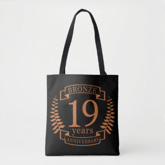 Bronze traditional wedding anniversary 19 years tote bag