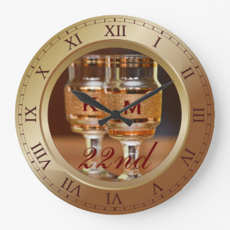 Bronze Wedding Anniversary Copper Gold Brown Photo Large Clock