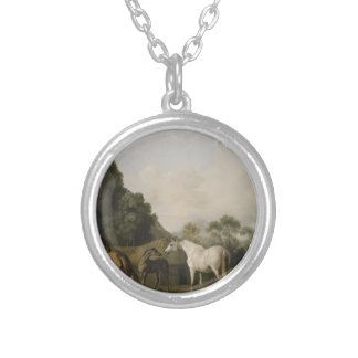 Brood Mares and Foals by George Stubbs Round Pendant Necklace