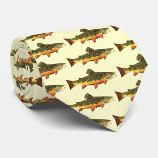 Brook Trout Fish Painting Tie