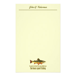 Brook Trout Fly Fisherman Angling Saying Stationery