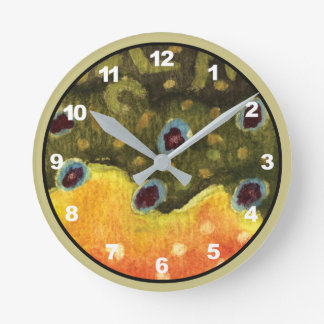 Brook Trout Fly Fishing Decor Round Clock