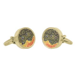 Brook Trout Fly Fishing Gold Finish Cufflinks