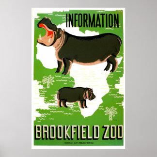 Brookfield Zoo Hippopotamus Vintage Poster