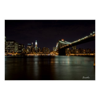 Brooklin Bridge at Night (Print) Poster