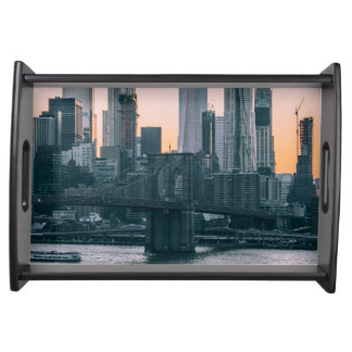 Brooklyn Bridge and downtown Manhattan New York Serving Tray