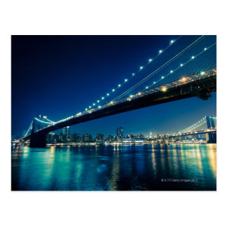 Brooklyn Bridge and Lower Manhattan at Night Postcard
