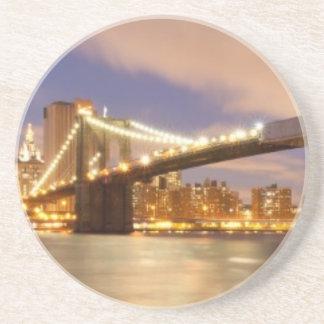 Brooklyn Bridge and Manhattan at Night Drink Coaster