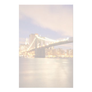 Brooklyn Bridge and Manhattan at Night. Customized Stationery