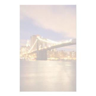 Brooklyn Bridge and Manhattan at Night. Customized Stationery
