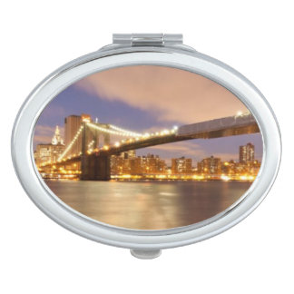 Brooklyn Bridge and Manhattan at Night. Makeup Mirror