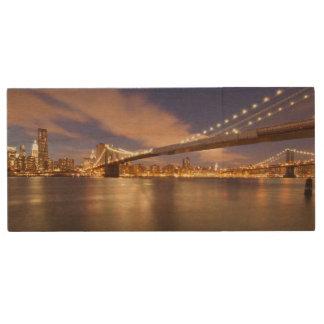 Brooklyn Bridge and Manhattan at Night. Wood USB 2.0 Flash Drive