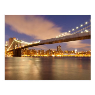 Brooklyn Bridge and Manhattan at Night. Postcard