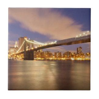Brooklyn Bridge and Manhattan at Night. Small Square Tile