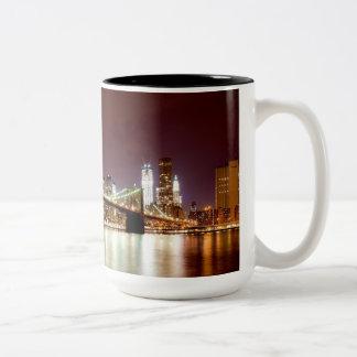 Brooklyn Bridge and Manhattan night view panorama Two-Tone Mug