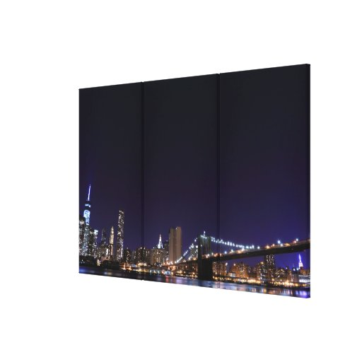 Brooklyn Bridge and Manhattan Skyline At Night Canvas Prints