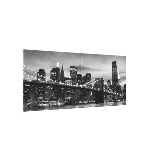 Brooklyn Bridge and Manhattan Skyline at Night NYC Gallery Wrapped Canvas
