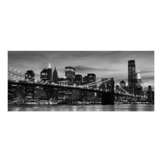 Brooklyn Bridge and Manhattan Skyline at Night NYC Poster