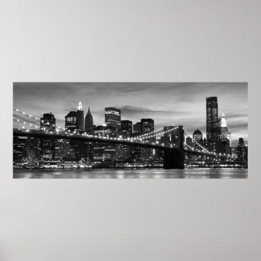 Brooklyn Bridge and Manhattan Skyline at Night NYC Posters