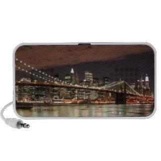 Brooklyn Bridge and Manhattan Skyline At Night Notebook Speakers