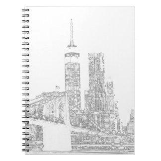 Brooklyn Bridge and Manhattan Skyline Spiral Notebooks
