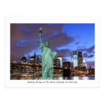 Brooklyn Bridge and The Statue of Liberty at Night Postcards