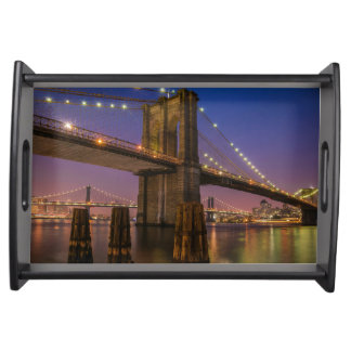 Brooklyn Bridge at Night in New York City USA Serving Tray