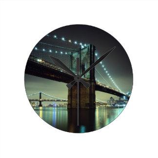 Brooklyn Bridge at night Manhattan Bridge Round Wall Clocks