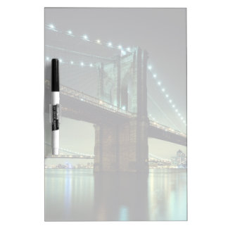 Brooklyn Bridge at night  Manhattan Bridge Dry Erase Whiteboard