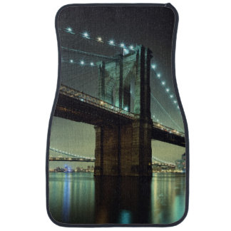 Brooklyn Bridge at night  Manhattan Bridge Floor Mat
