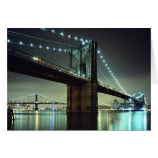 Brooklyn Bridge at night  Manhattan Bridge Greeting Card