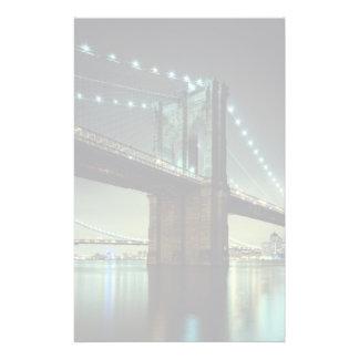Brooklyn Bridge at night  Manhattan Bridge Personalised Stationery