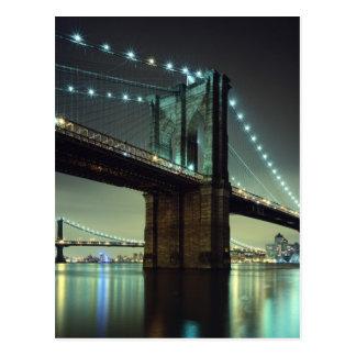 Brooklyn Bridge at night  Manhattan Bridge Postcard