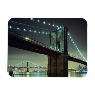 Brooklyn Bridge at night  Manhattan Bridge Rectangle Magnet