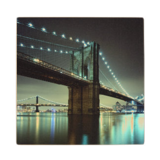 Brooklyn Bridge at night  Manhattan Bridge Wood Coaster