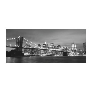 Brooklyn Bridge At Night, New York City Canvas Prints
