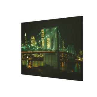 Brooklyn Bridge at Night Photograph Canvas Print