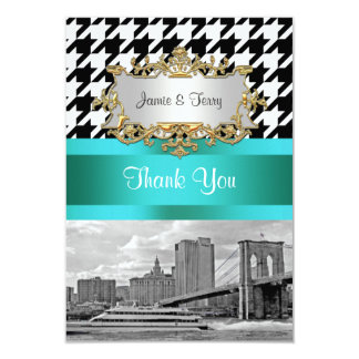 Brooklyn Bridge Blk Wht Houndstooth 2 Thank You Card