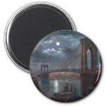 Brooklyn Bridge by Moonlight 6 Cm Round Magnet
