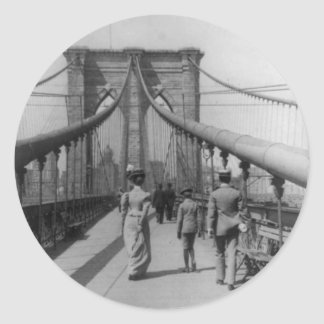 Brooklyn Bridge Crossing Round Sticker