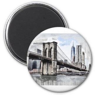 Brooklyn Bridge Drawing Magnet
