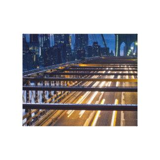 Brooklyn Bridge Lights at Night Stretched Canvas Print