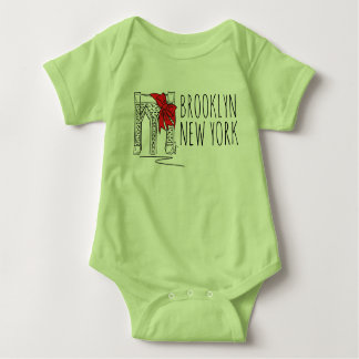 Brooklyn Bridge New York City NYC Christmas Bow Baby Bodysuit
