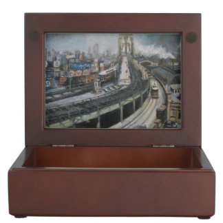 Brooklyn Bridge New York Fine Art Painting Keepsake Boxes