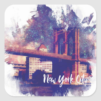Brooklyn Bridge NYC Painting Square Sticker