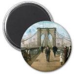Brooklyn Bridge Promenade, New York City 6 Cm Round Magnet