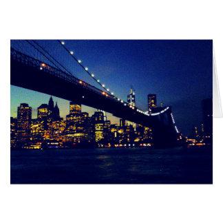 BROOKLYN BRIDGE TWILIGHT GREETING CARD