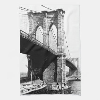 Brooklyn Bridge waterfront Tea Towel